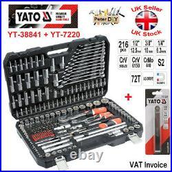 Yato Ratchet Socket Set 1/2 1/4 3/8 Tools Toolbox YT-38841 + YT-7220 -217 PCS